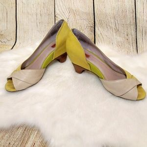 Mix Mooz Warby Yellow and Cream Leather Heels